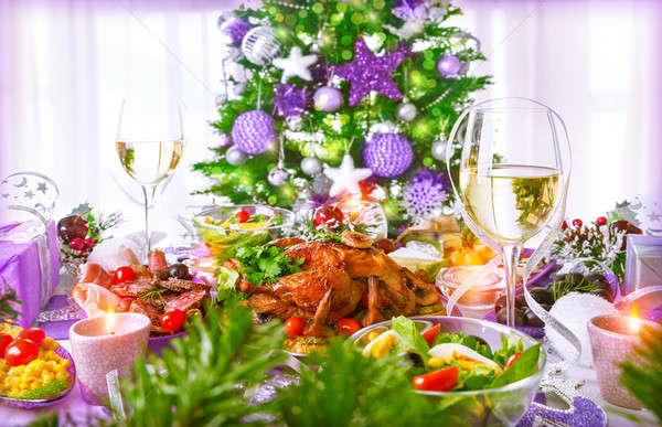 Stok fotoğraf: Noel · akşam · yemeği · tavuk · yemek · geleneksel