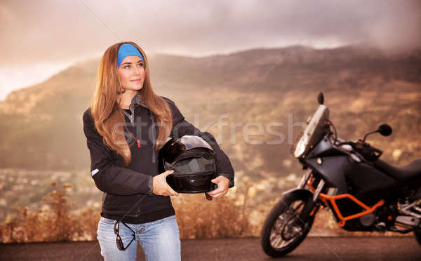 Beautiful biker girl Stock photo © Anna_Om