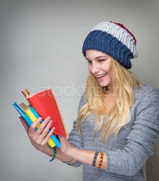 öğrenci okuma kitap portre güzel şık Stok fotoğraf © Anna_Om