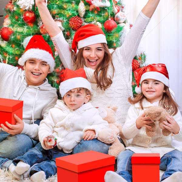 Christmas time family portrait Stock photo © Anna_Om