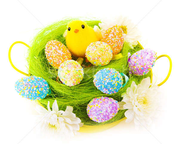 Easter eggs and cute chick Stock photo © Anna_Om