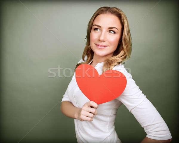 ストックフォト: 愛 · ロマンチックな · 女性 · 赤 · 紙