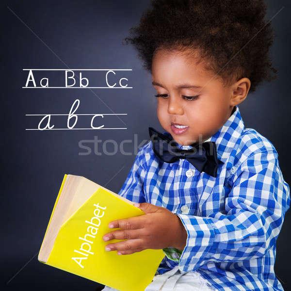 Kicsi fiú lecke nyelv kéz a kézben ábécé Stock fotó © Anna_Om