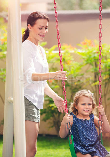 Maman roches fille Swing famille heureuse plaisir Photo stock © Anna_Om
