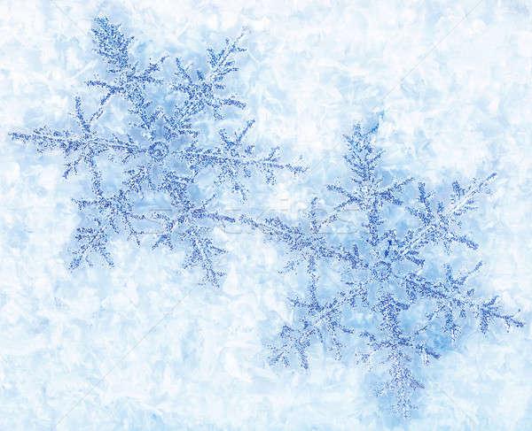 Foto d'archivio: Fiocco · di · neve · bella · blu · fiocchi · di · neve · isolato · neve