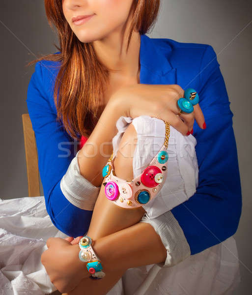 Elegante mulher quadro elegante colorido Foto stock © Anna_Om