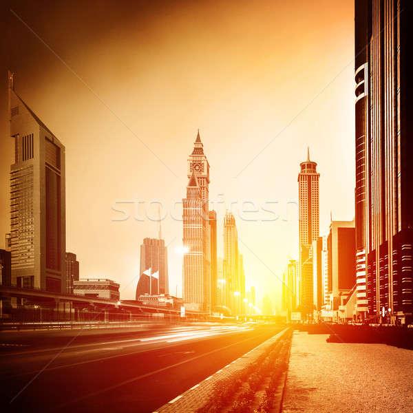 Dubai città tramonto luminoso giallo sole Foto d'archivio © Anna_Om