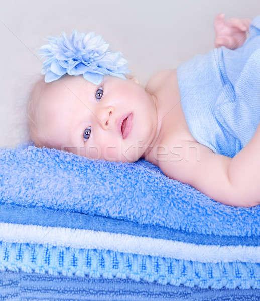 édes újszülött lány közelkép portré fekszik Stock fotó © Anna_Om