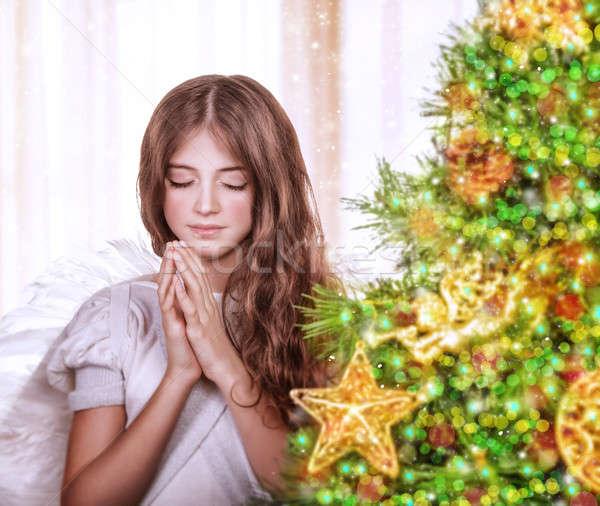Foto stock: Pequeño · ángel · nina · retrato · adolescente · rezando