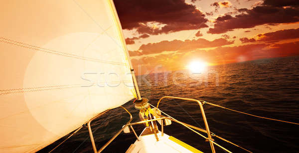Romantic sunset and sail boat  Stock photo © Anna_Om