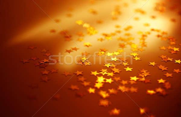 ünnep piros fényes arany csillagok karácsony Stock fotó © Anna_Om