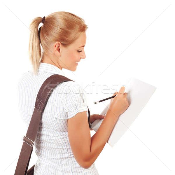 Diák lány ír vizsgák passz izolált Stock fotó © Anna_Om