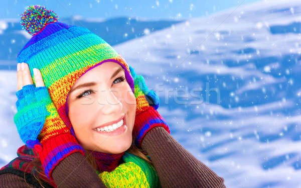 Happy girl in winter park Stock photo © Anna_Om