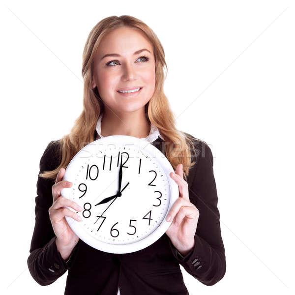 Happy woman with big clock Stock photo © Anna_Om