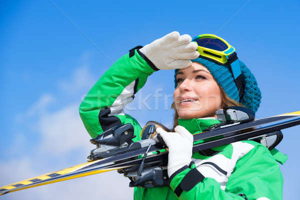 Skieur instructeur portrait belle femme Photo stock © Anna_Om