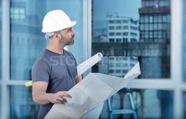 Zdjęcia stock: Architekta · budowniczy · studia · układ · plan · pokoje