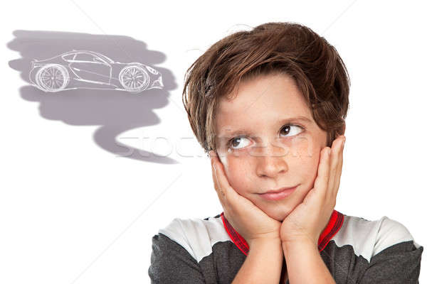 Teen boy dreaming about a car Stock photo © Anna_Om
