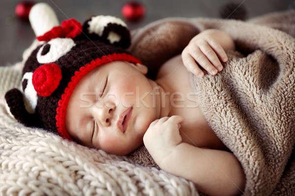 Cute baby sleeping in Christmas pajamas Stock photo © Anna_Om