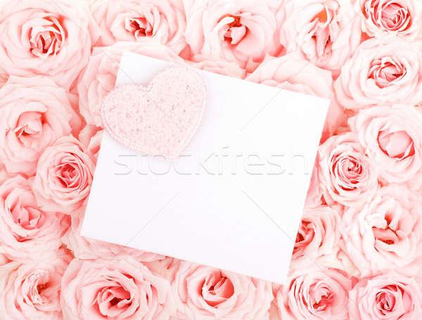 Stockfoto: Mooie · rozen · gift · card · hart · roze · vers