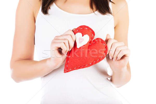 Stok fotoğraf: Kırmızı · kalp · eller · resim · büyük · kadın