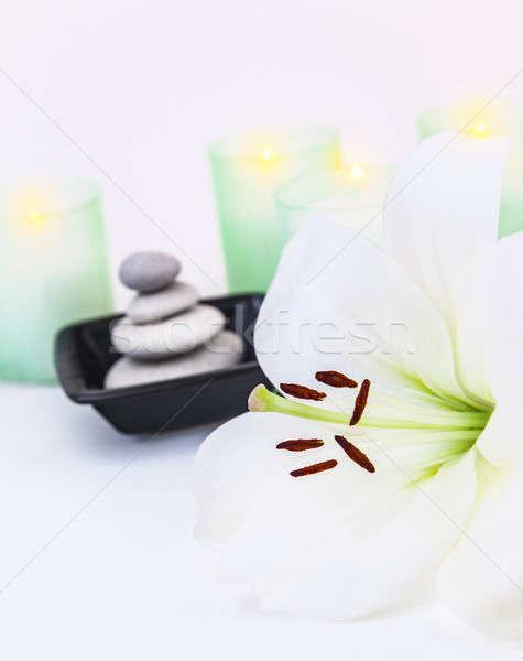 Fürdő zen egyensúly kép gyönyörű fehér Stock fotó © Anna_Om