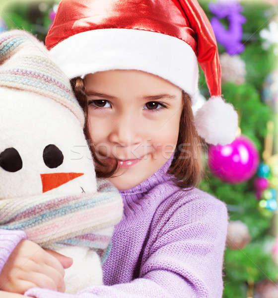 ストックフォト: 女の子 · サンタクロース · 帽子 · クローズアップ · 肖像 · かわいい