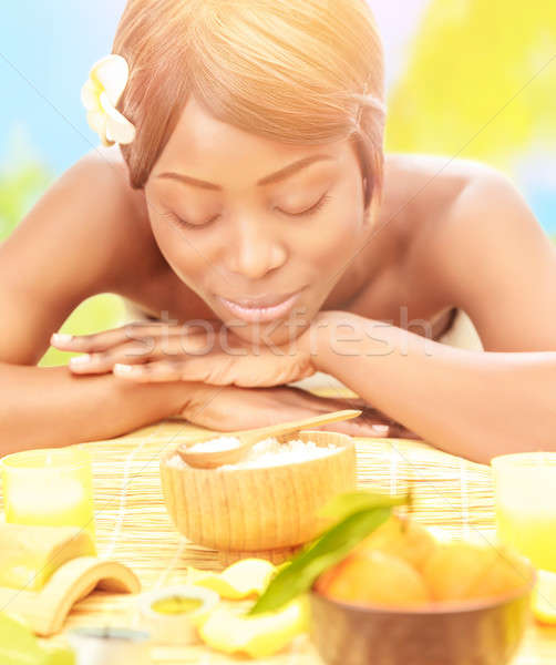 Black woman on spa resort Stock photo © Anna_Om