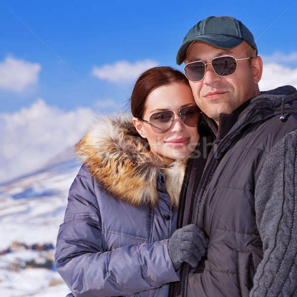 Beautiful couple on winter vacation Stock photo © Anna_Om