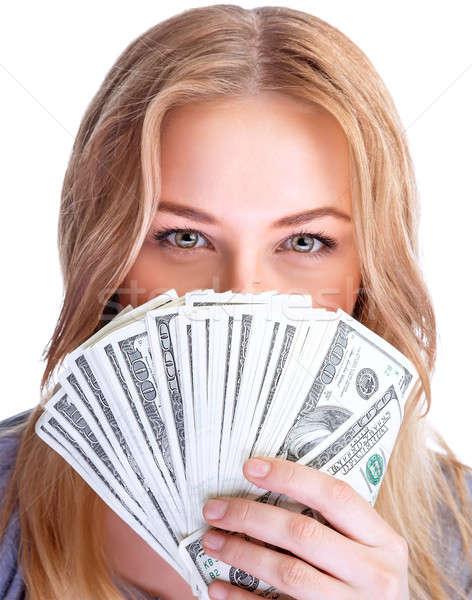 Stockfoto: Besparing · geld · portret · jonge · dame