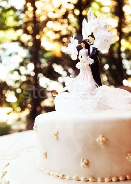 Stock fotó: Esküvői · torta · ízletes · díszített · menyasszony · vőlegény · terv
