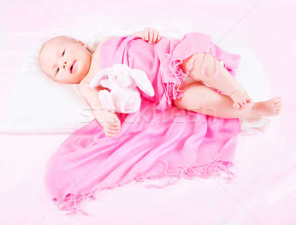Sweet newborn baby with soft toy Stock photo © Anna_Om