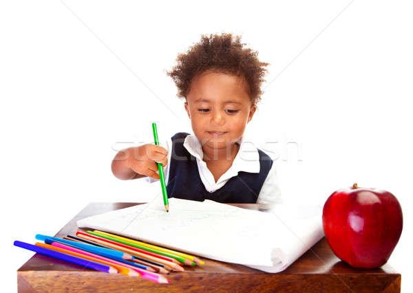 Stockfoto: Weinig · afrikaanse · schooljongen · portret · cute · vergadering