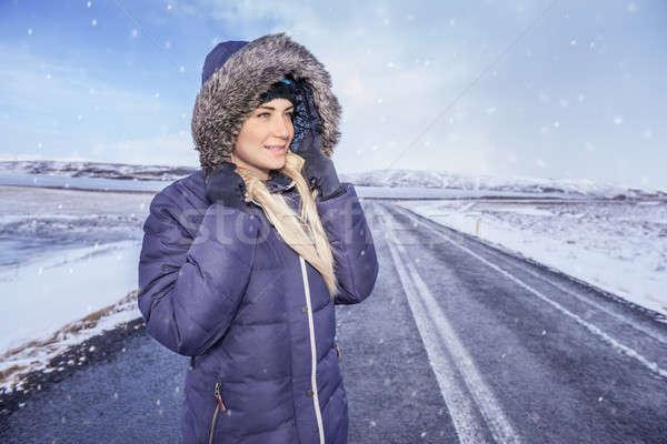 Mulher Islândia jovens inverno retrato Foto stock © Anna_Om