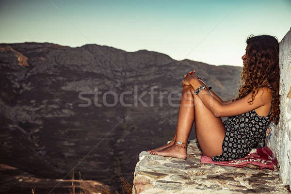 Stock photo: Traveler girl in the mountains