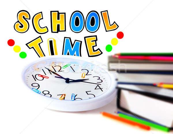 Stock fotó: Iskola · idő · kép · oktatás · könyv · óra