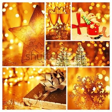 Navidad regalo collage invierno vacaciones colección Foto stock © Anna_Om
