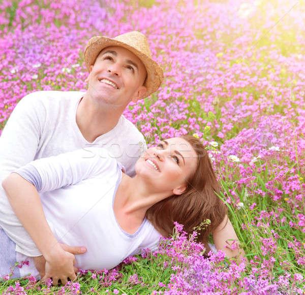 Foto stock: Família · feliz · primavera · parque · flores · prado
