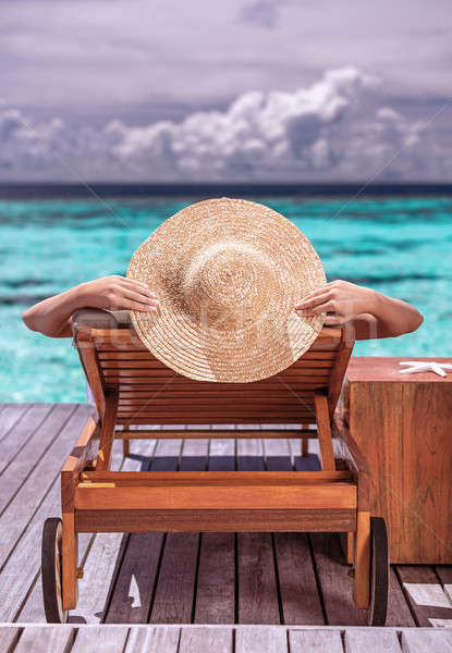 Frau Luxus Strand Resort weiblichen Gerben Stock foto © Anna_Om