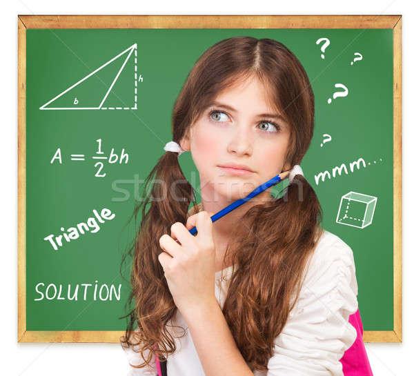 Pense mathématiques tâche portrait cute Photo stock © Anna_Om