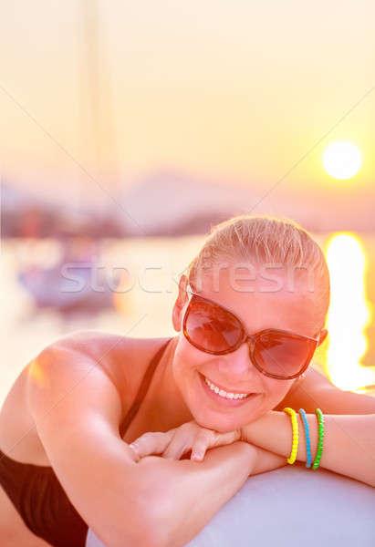 Alegre menina mar cruzeiro retrato atraente Foto stock © Anna_Om