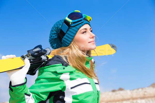 Belo esquiador mulher Foto stock © Anna_Om