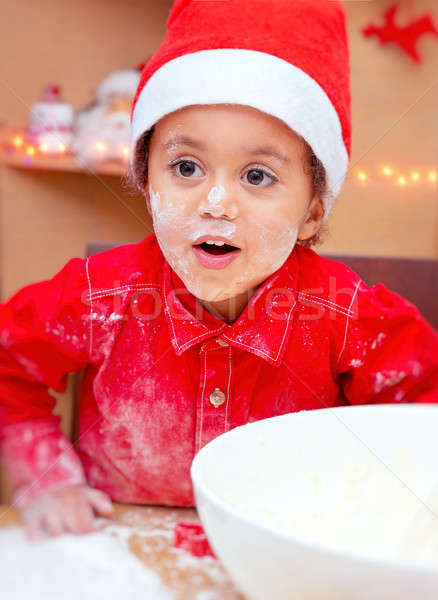 Little boy making Christmas cookies Stock photo © Anna_Om