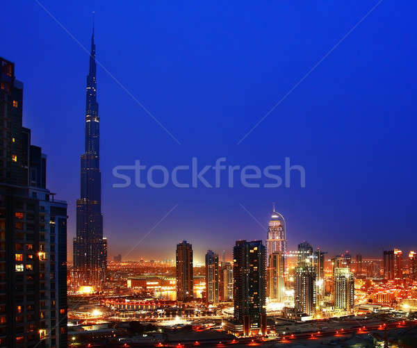 Dubai Innenstadt Nacht city lights Büro Stock foto © Anna_Om