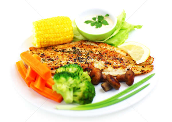 Smaczny ryb filet zdrowych warzyw Zdjęcia stock © Anna_Om