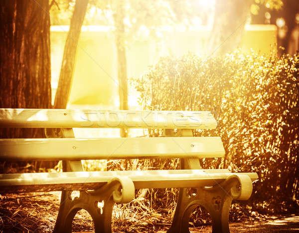 Foto stock: Banco · parque · hermosa · brillante · amarillo