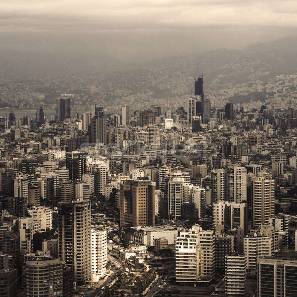 Libanon városkép gyönyörű légifelvétel arab építészet Stock fotó © Anna_Om