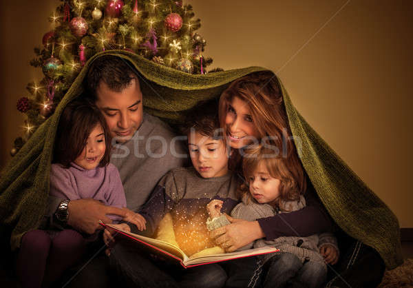 Big family in Christmas eve Stock photo © Anna_Om