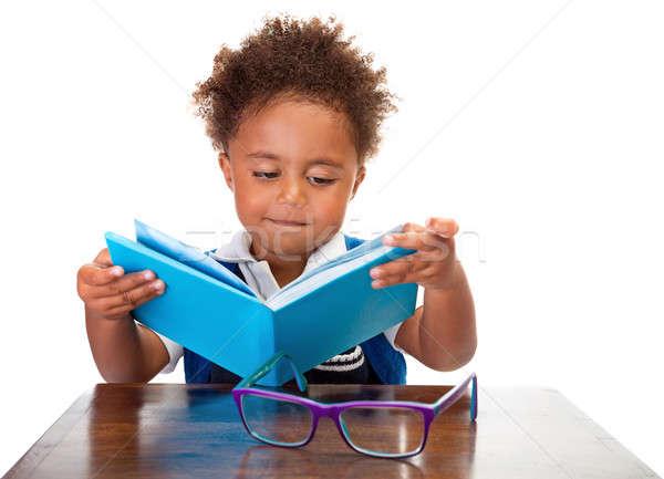 Stockfoto: Weinig · jongen · lezing · boeken · portret · zoete