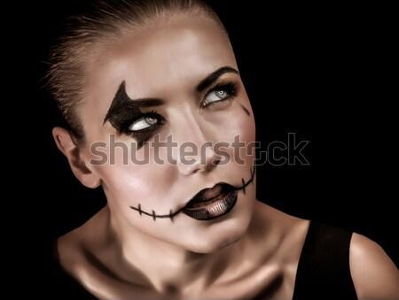 Halloween viering portret agressief jonge vrouw griezelig Stockfoto © Anna_Om