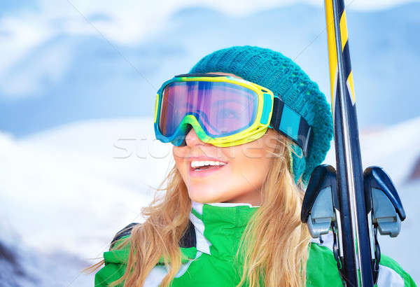 Portrait skieur fille cute souriant Photo stock © Anna_Om